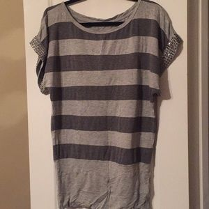 Forever 21 short sleeve striped jeweled top
